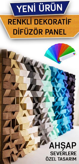 akustik ahşap renkli difüzör tasarımı nova akustik