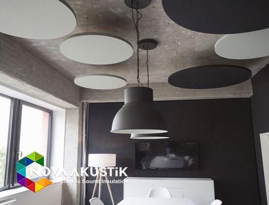 akustik daire model yüzer tavan paneli