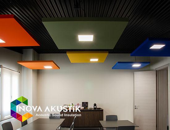 akustik ışıklı ledli yüzer tavan paneli