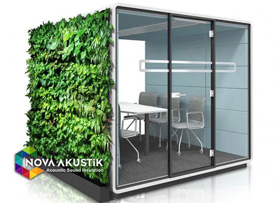 yapay yosun kaplı akustik toplantı odası kabini